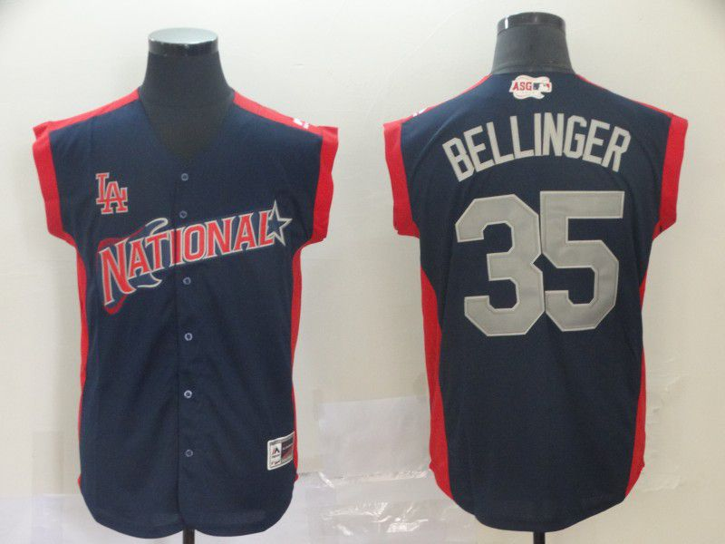 Men Los Angeles Dodgers 35 Bellinger Navy Blue 2019 All Star MLB Jerseys