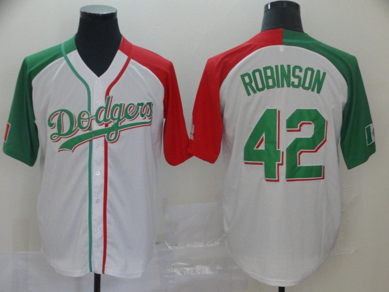 Men Los Angeles Dodgers 42 Robinson White Game MLB Jerseys