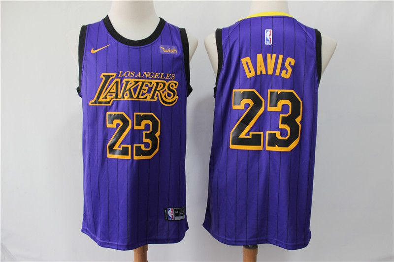Men Los Angeles Lakers 23 Davis Purple stripe Game Nike NBA Jerseys