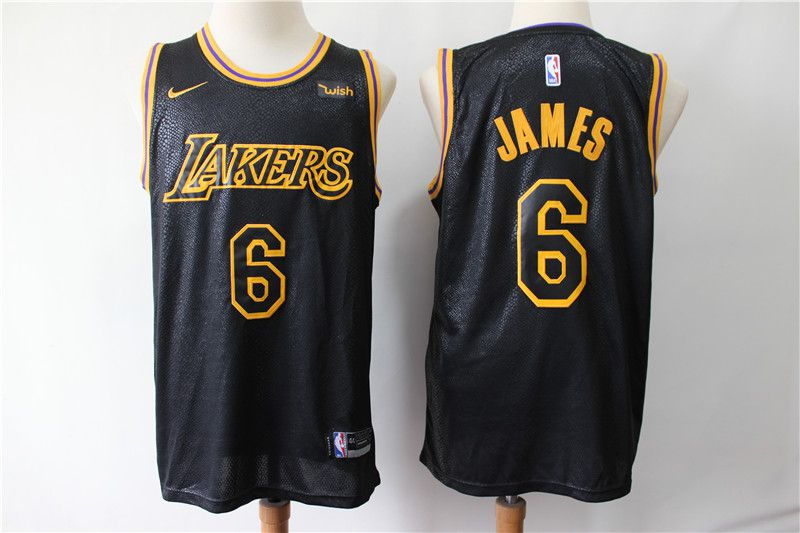 Men Los Angeles Lakers 6 James Black City Edition Nike NBA Jerseys