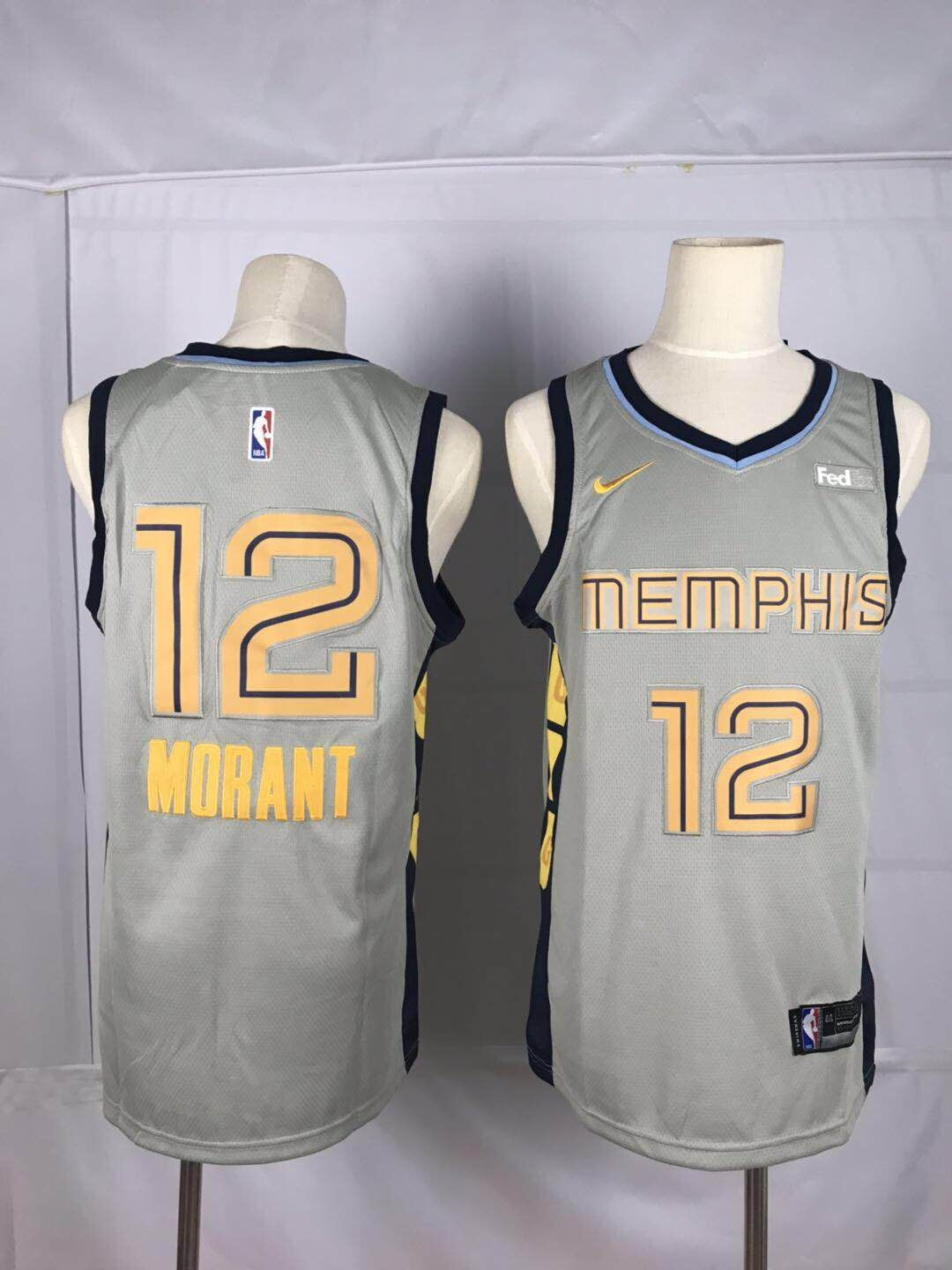 Men Memphis Grizzlies 12 Morant Grey Nike NBA Jerseys