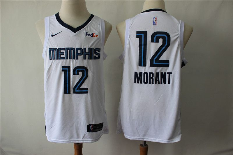Men Memphis Grizzlies 12 Morant White Nike NBA Jerseys