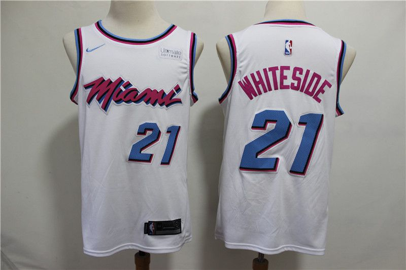 Men Miami Heat 21 Whiteside White City Edition Game Nike NBA Jerseys