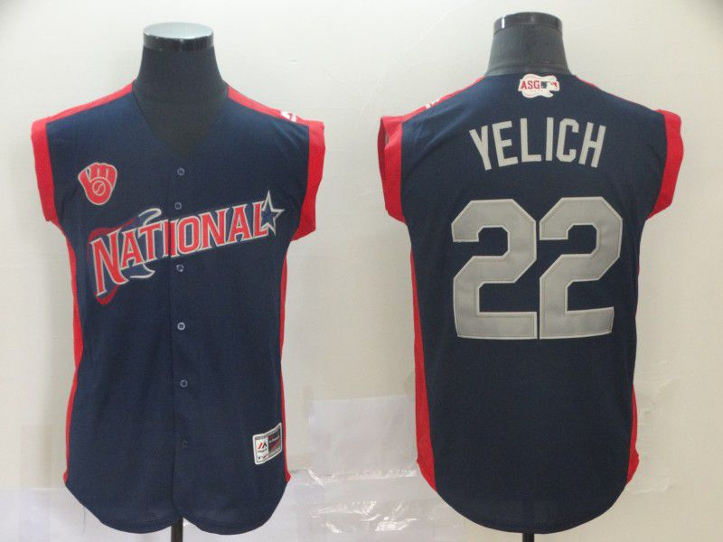 Men Milwaukee Brewers 22 Yelich Navy Blue 2019 All Star MLB Jerseys