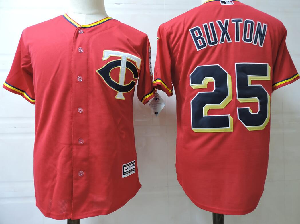 Men Minnesota Twins 25 Buxton Red New Cloth MLB Jerseys