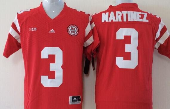 Men Nebraska Huskers 3 Martinez Red NCAA jerseys