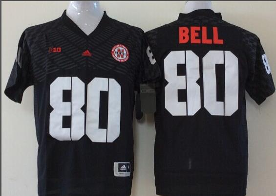 Men Nebraska Huskers 80 Bell Black NCAA jerseys