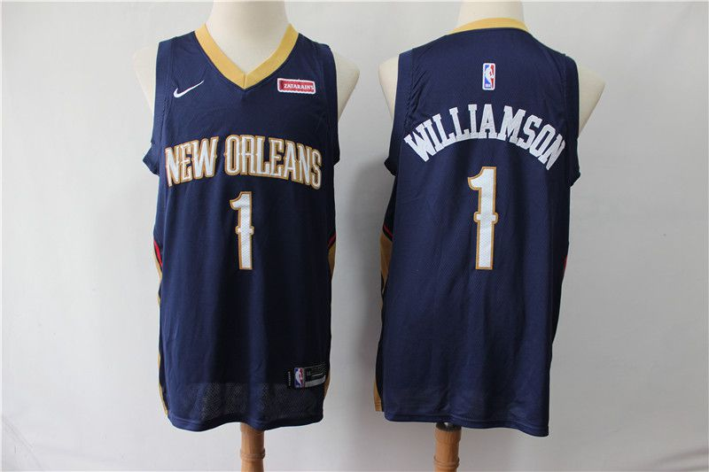 Men New Orleans Pelicans 1 Williamson Blue Game Nike NBA Jerseys