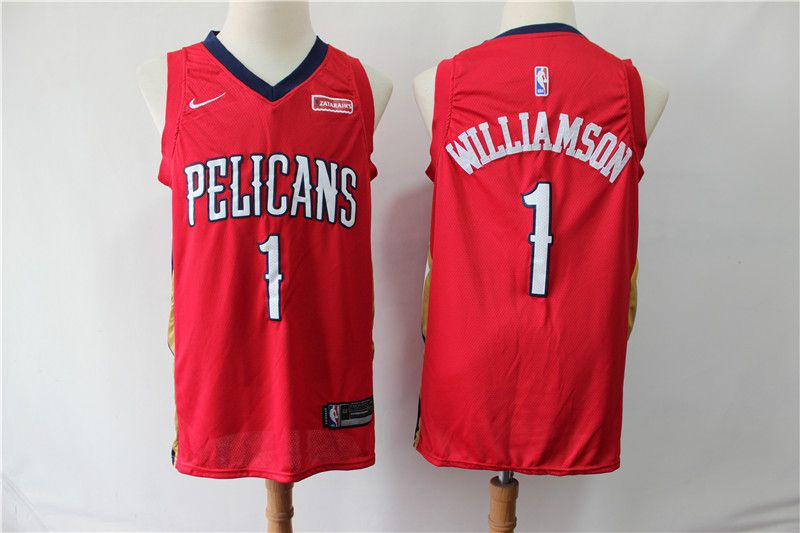 Men New Orleans Pelicans 1 Williamson Red Game Nike NBA Jerseys