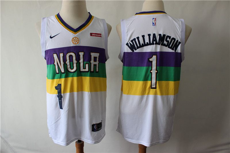 Men New Orleans Pelicans 1 Williamson White City Edition Game Nike NBA Jerseys