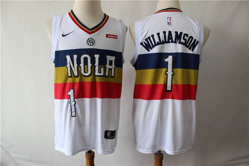 Men New Orleans Pelicans 1 Williamson White City Edition Nike NBA Jerseys