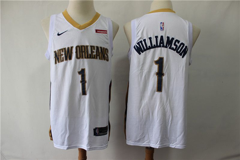 Men New Orleans Pelicans 1 Williamson White Game Nike NBA Jerseys