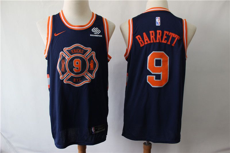 Men New York Knicks 9 Barrett Blue City Edition Game Nike NBA Jerseys