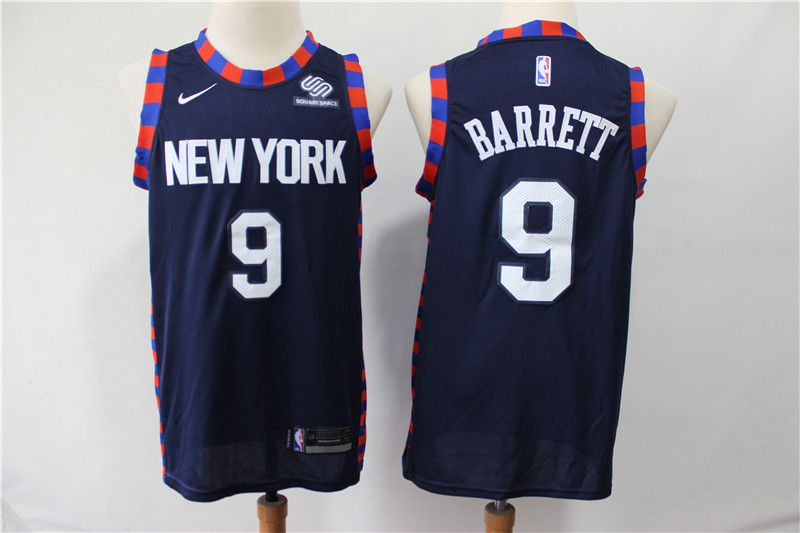 Men New York Knicks 9 Barrett Blue City Edition Nike NBA Jerseys
