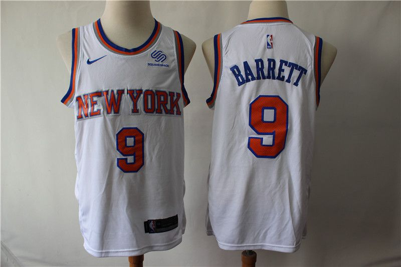 Men New York Knicks 9 Barrett White Game Nike NBA Jerseys