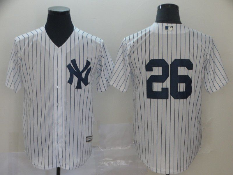 Men New York Yankees 26 Lemahieu White Game MLB Jerseys1