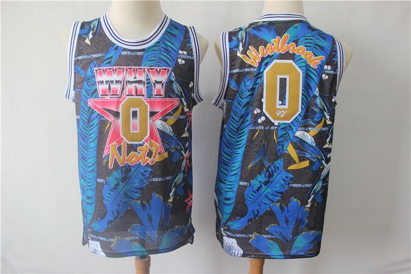 Men Oklahoma City Thunder 0 Westbrook Blue Painted Limited Edition NBA Jerseys