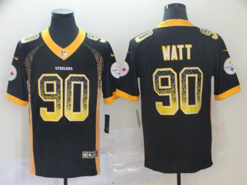 Men Pittsburgh Steelers 90 Watt Black Nike Drift Fashion Color Rush Limited NFL Jerseys