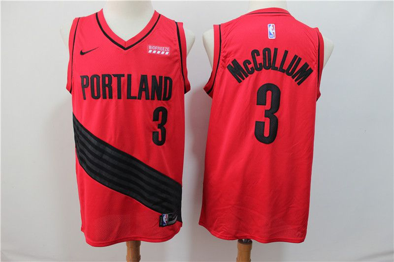 Men Portland Trail Blazers 3 Mccollum Red Nike NBA Jerseys