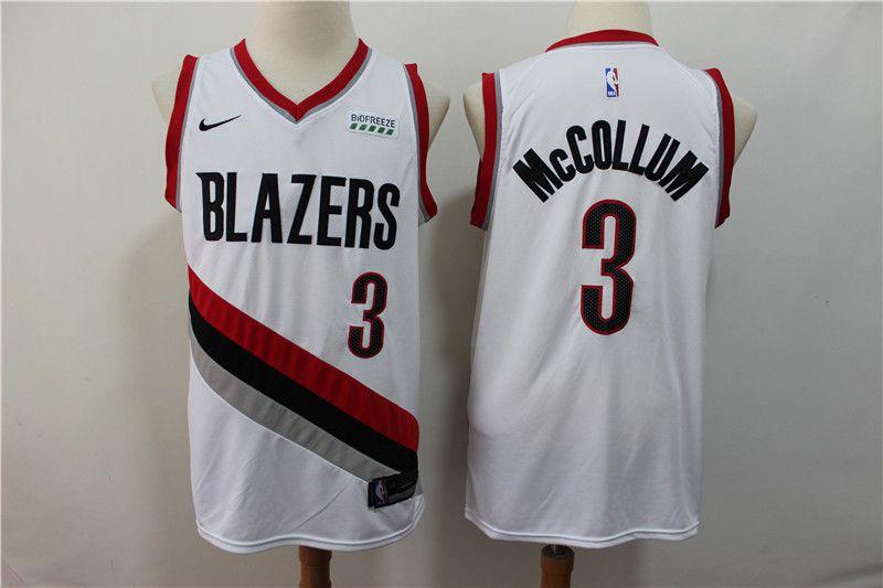 Men Portland Trail Blazers 3 Mccollum White Nike NBA Jerseys