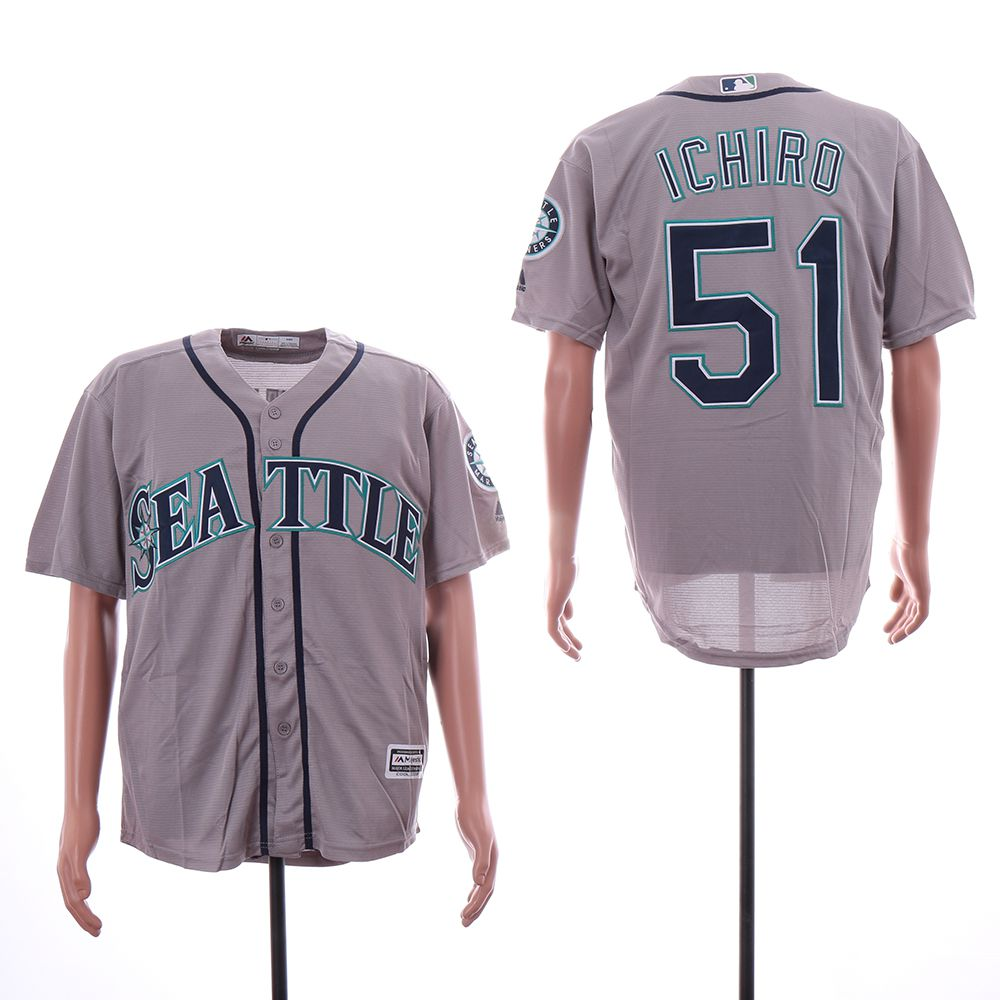 Men Seattle Mariners 51 Ichiro Grey Game MLB Jersey