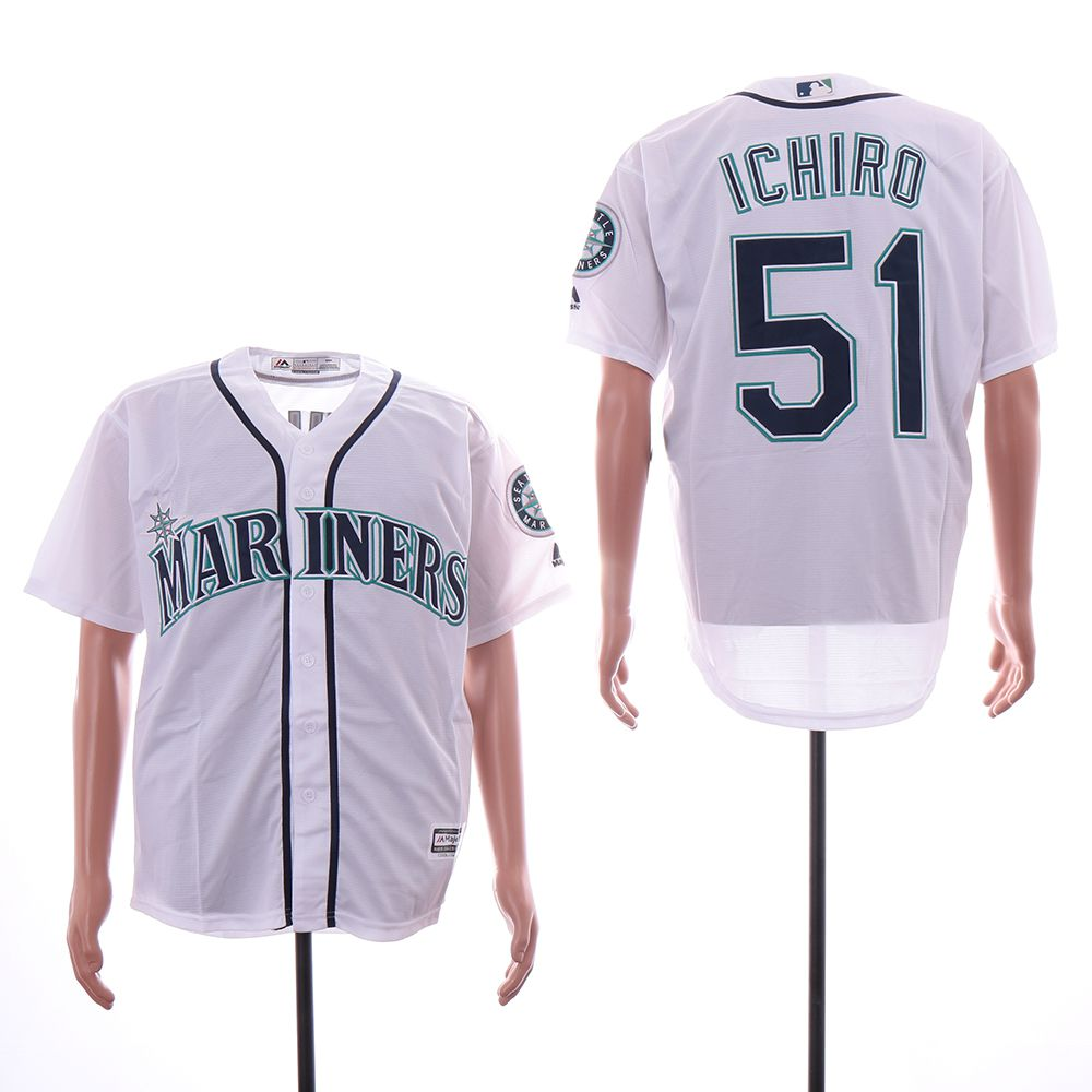Men Seattle Mariners 51 Ichiro White Game MLB Jersey