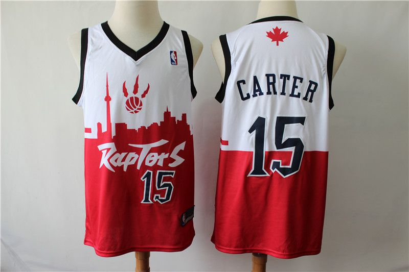 Men Toronto Raptors 15 Carter white red city editon NBA Jerseys