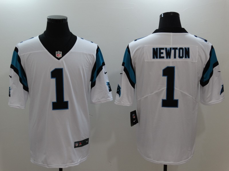 Mens Nike Carolina Panthers 1 Cam Newton White Vapor Untouchable Limited Stitched NFL Jersey