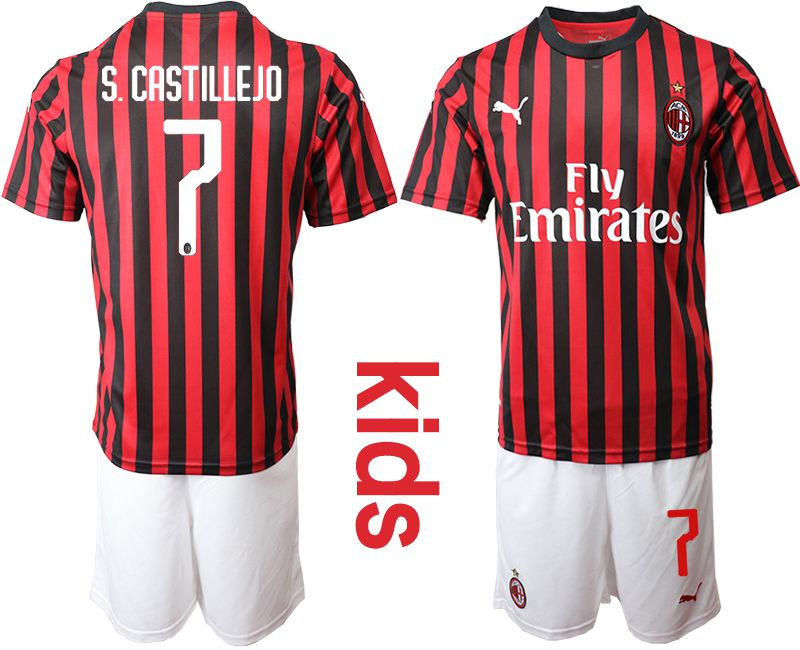 Youth 2019-2020 club AC milan home 7 red Soccer Jerseys