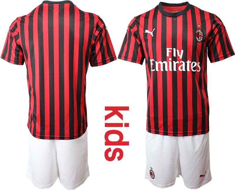 Youth 2019-2020 club AC milan home red Soccer Jerseys
