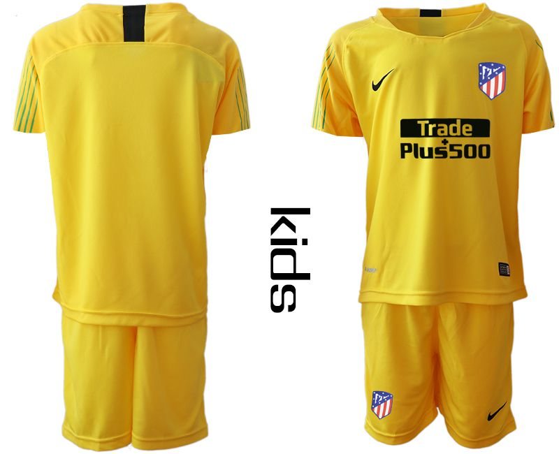 Youth 2019-2020 club Atletico Madrid yellow goalkeeper Soccer Jerseys