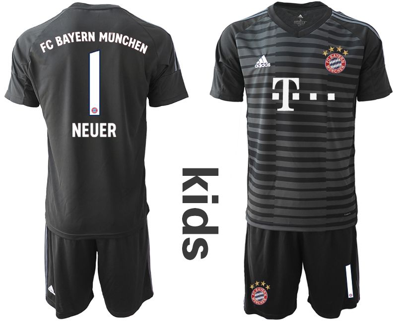 Youth 2019-2020 club Bayern Munich black goalkeeper 1 Soccer Jerseys