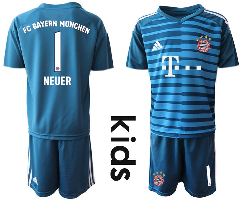 Youth 2019-2020 club Bayern Munich blue goalkeeper 1 Soccer Jerseys