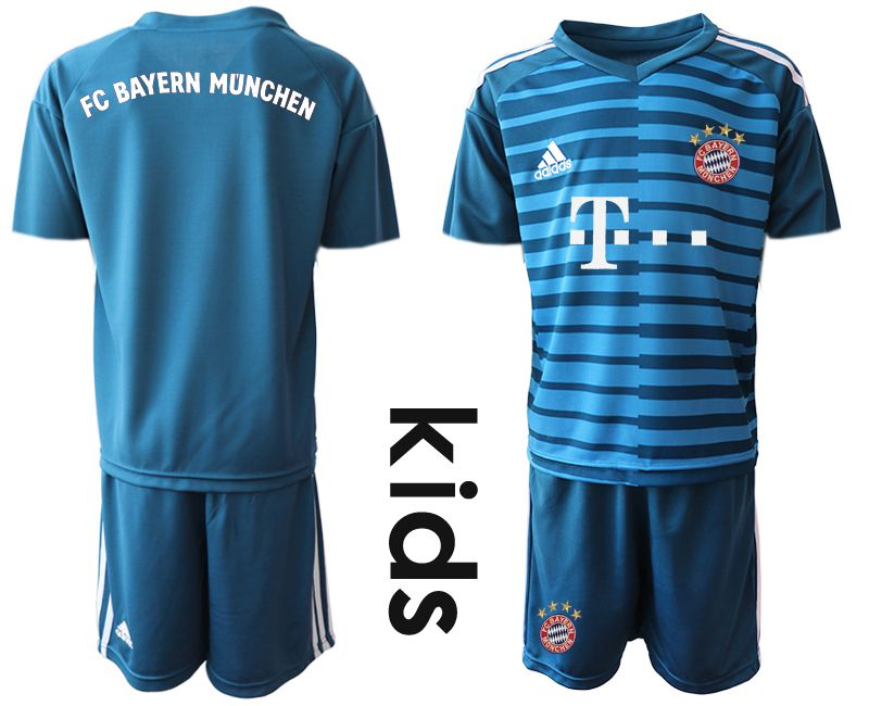 Youth 2019-2020 club Bayern Munich blue goalkeeper Soccer Jerseys