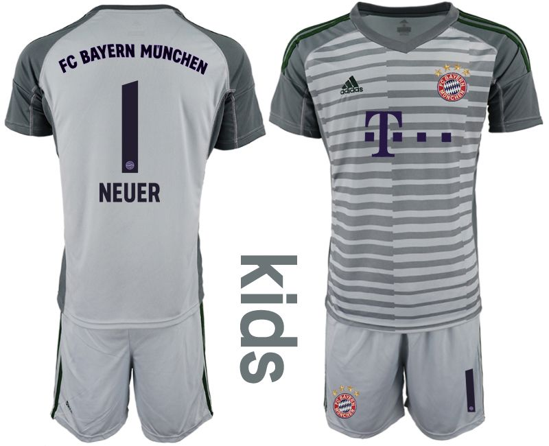 Youth 2019-2020 club Bayern Munich gray goalkeeper 1 Soccer Jerseys