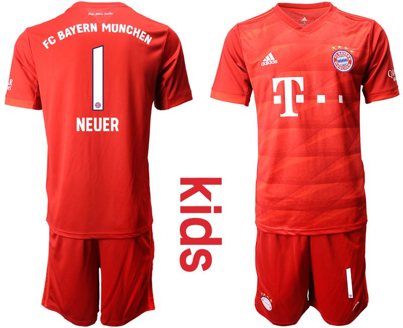 Youth 2019-2020 club Bayern Munich home 1 red Soccer Jerseys