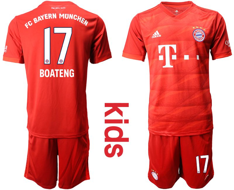 Youth 2019-2020 club Bayern Munich home 17 red Soccer Jerseys