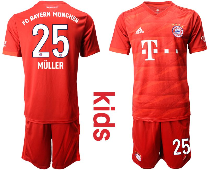 Youth 2019-2020 club Bayern Munich home 25 red Soccer Jerseys