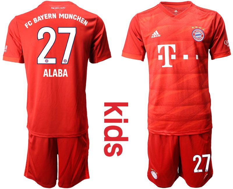 Youth 2019-2020 club Bayern Munich home 27 red Soccer Jerseys
