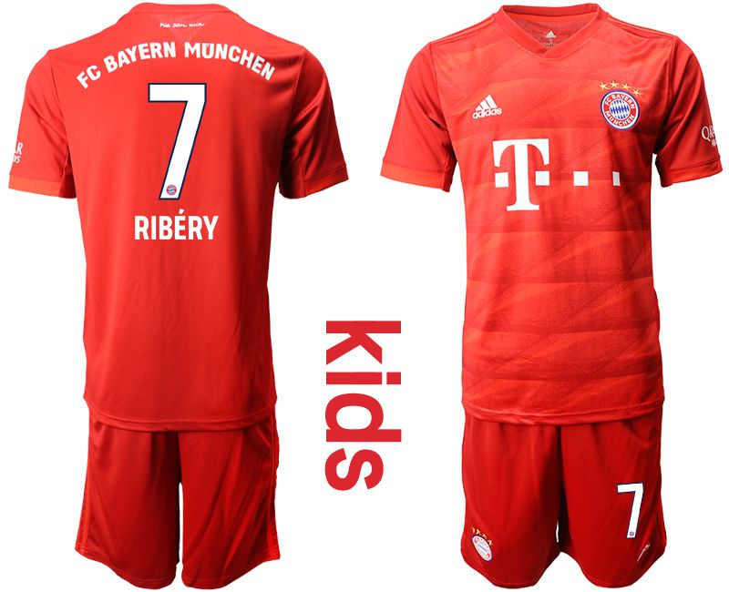 Youth 2019-2020 club Bayern Munich home 7 red Soccer Jerseys