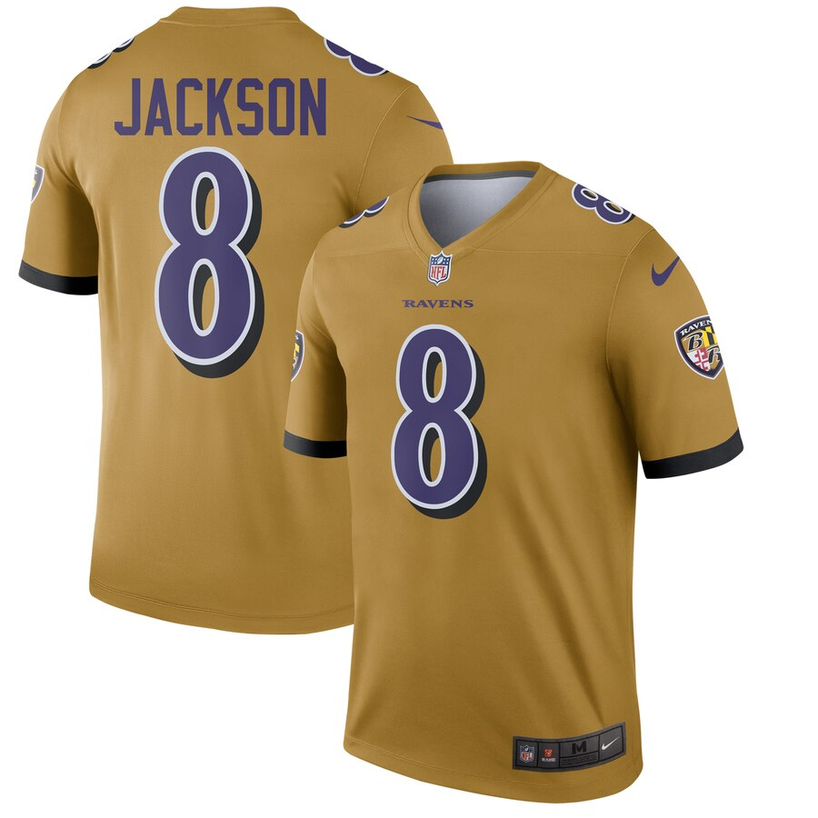 2019 Men Baltimore Ravens 8 Jackson yellow Nike Limited NFL Jerseys