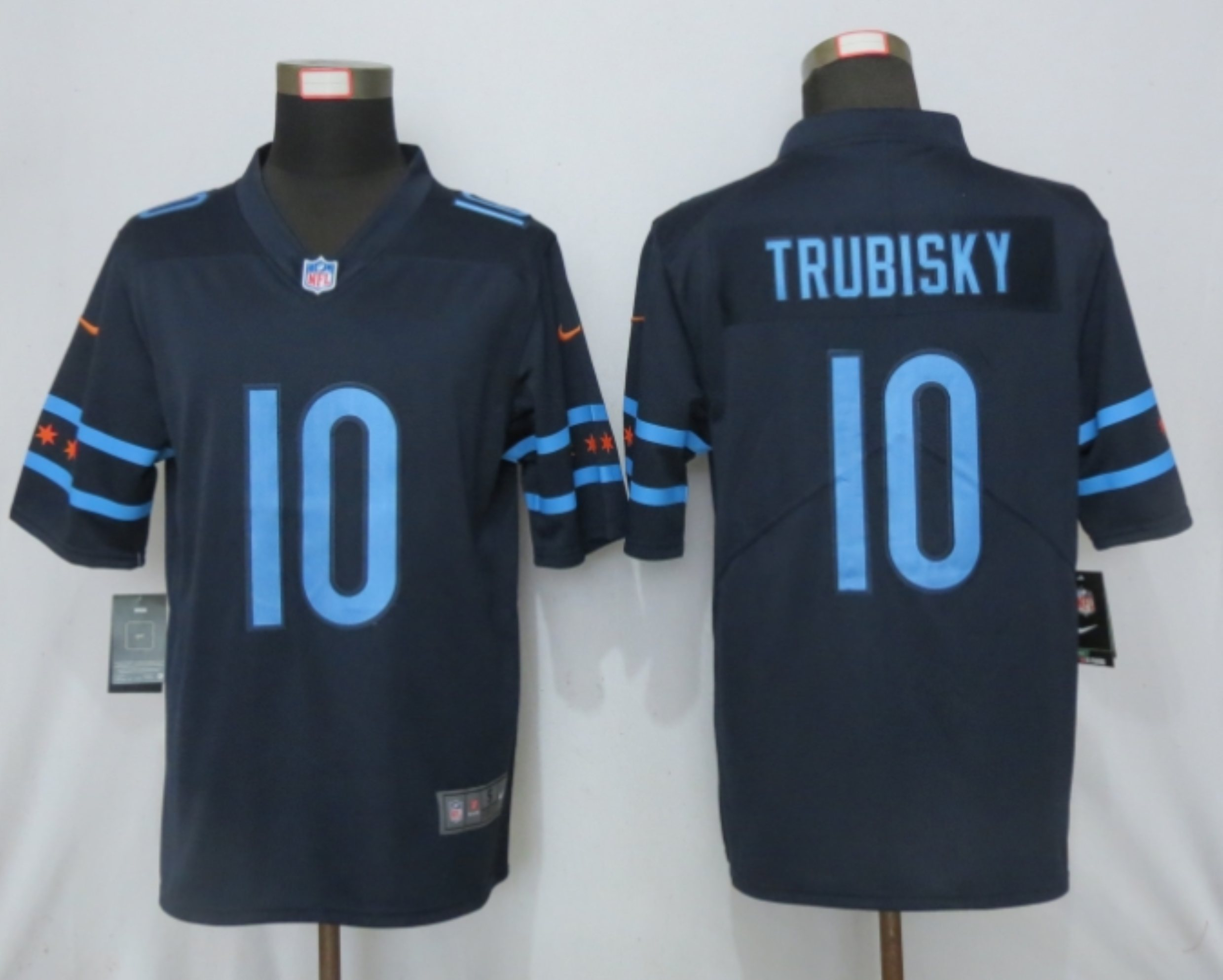 2019 Nike Men Chicago Bears 10 Trubisky Mack Navy Vapor Limited City Edition NFL Jersey