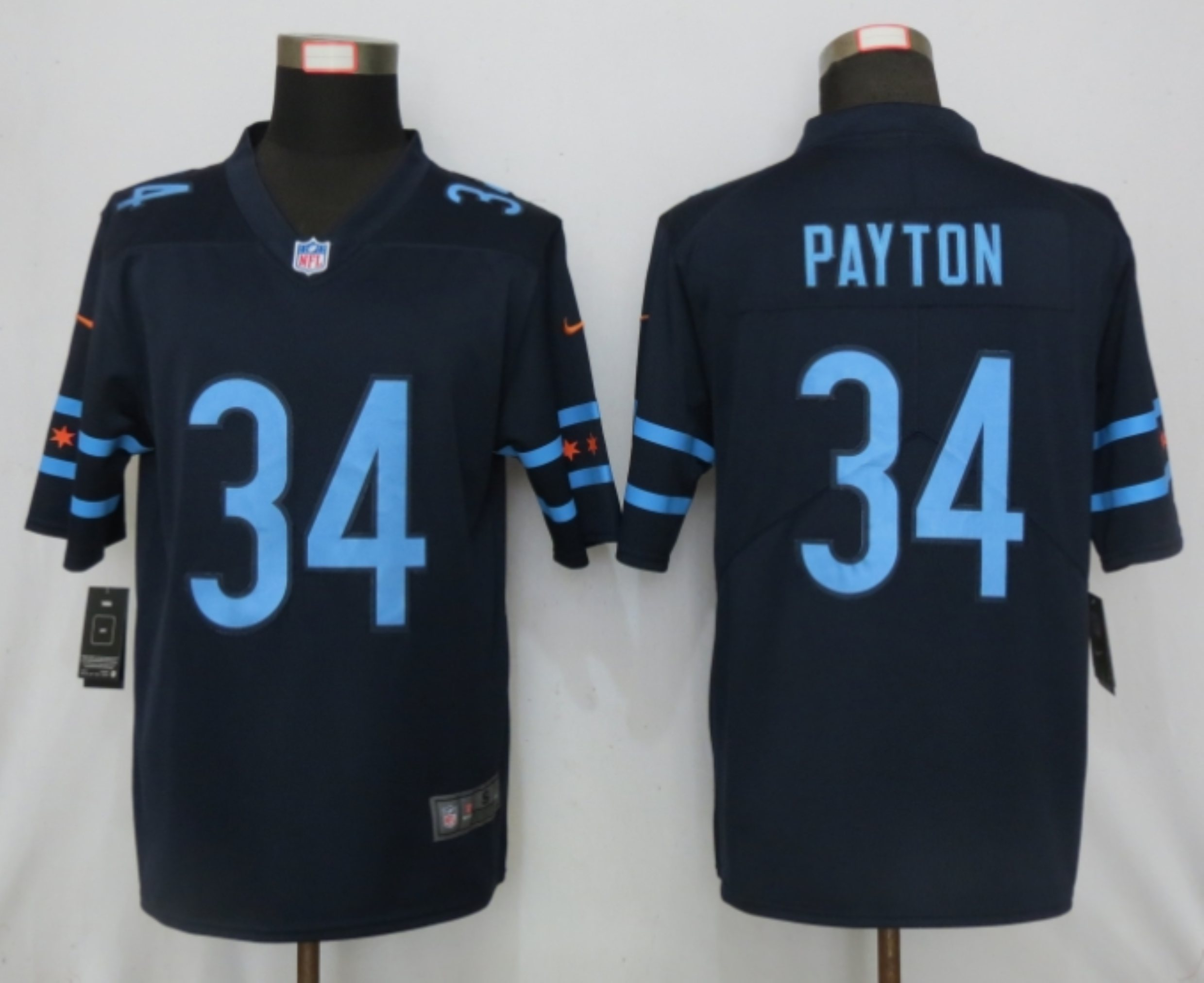 2019 Nike Men Chicago Bears 34 Payton Mack Navy Vapor Limited City Edition NFL Jersey
