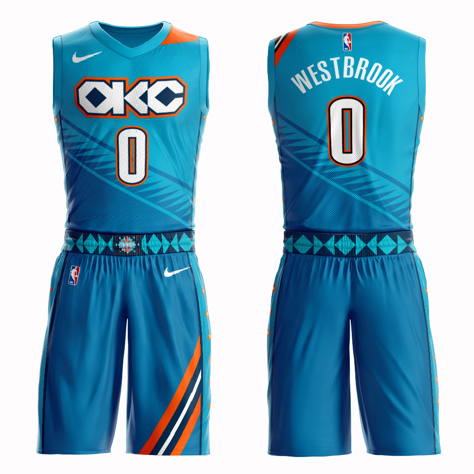 Customized 2019 Men Oklahoma City Thunder 0 Westbrook blue NBA Nike jersey