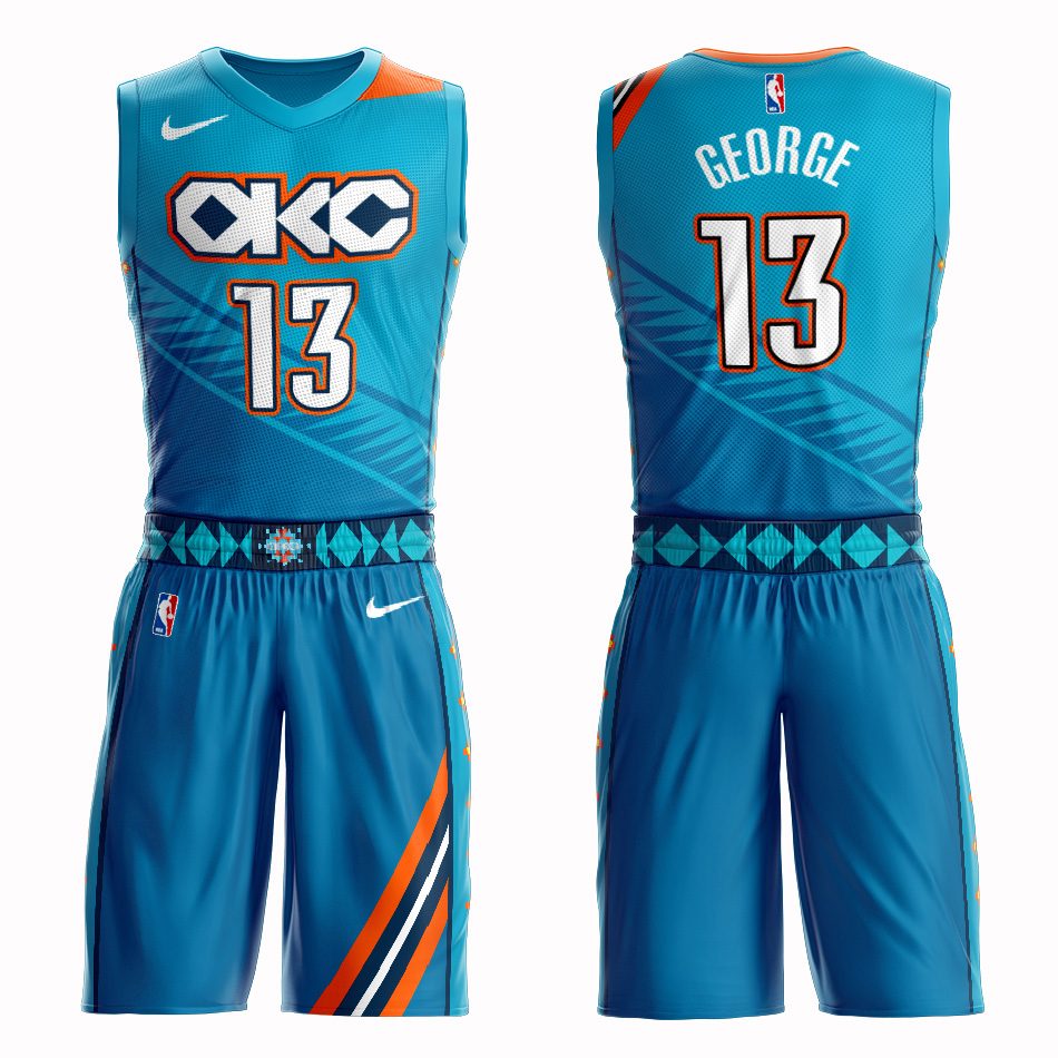 Customized 2019 Men Oklahoma City Thunder 13 George blue NBA Nike jersey
