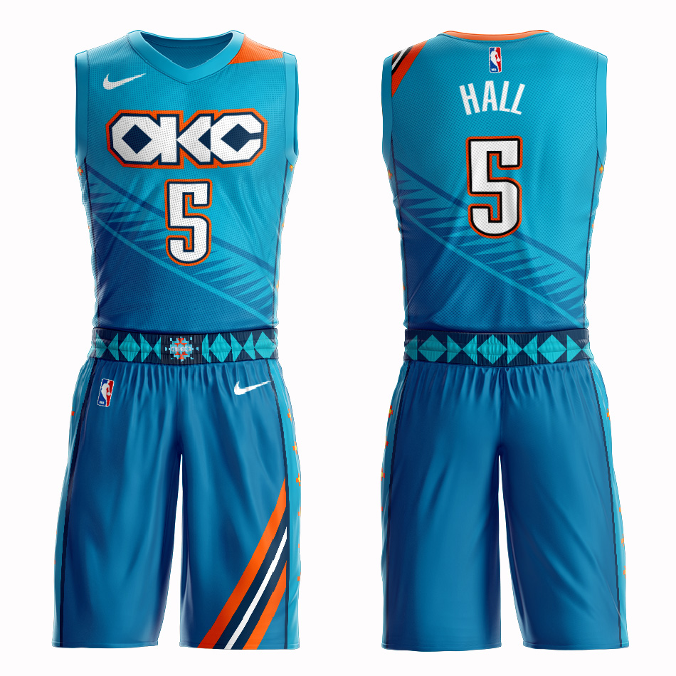 Customized 2019 Men Oklahoma City Thunder 5 Hall blue NBA Nike jersey