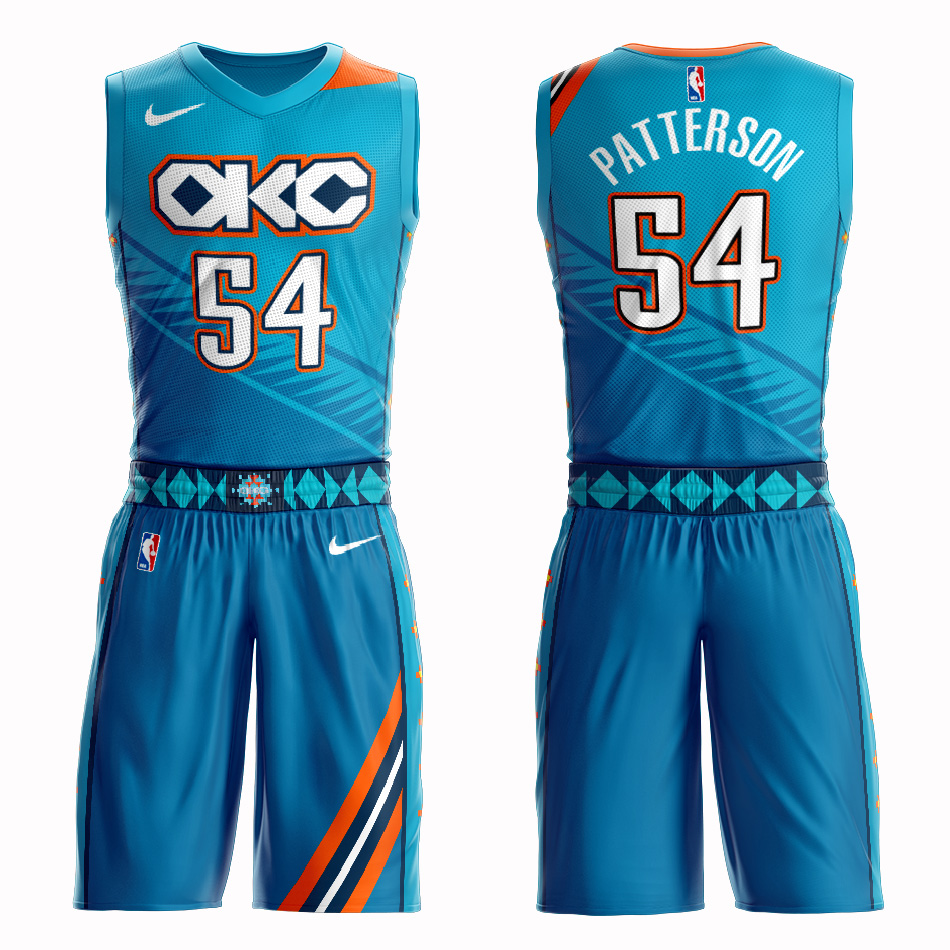 Customized 2019 Men Oklahoma City Thunder 54 Patterson blue NBA Nike jersey