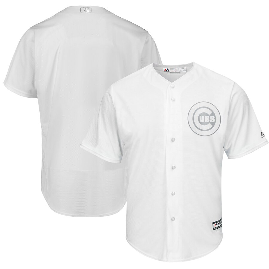 Customized Men Chicago Cubs blank white MLB Jerseys