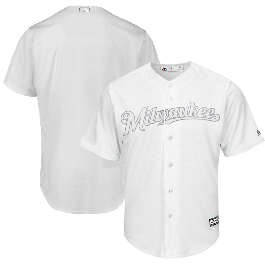 Customized Men Milwaukee Brewers Blank white blank MLB Jerseys