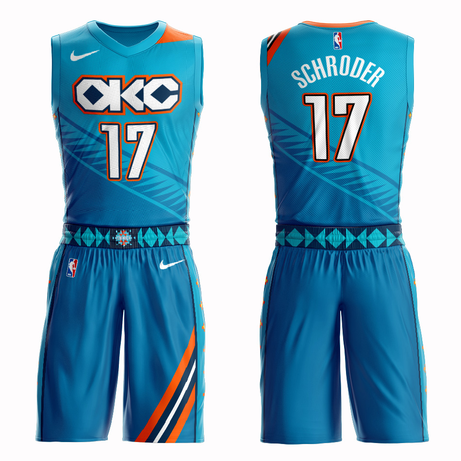 Customized Men Oklahoma City Thunder 17 Schroder blue NBA Nike jersey